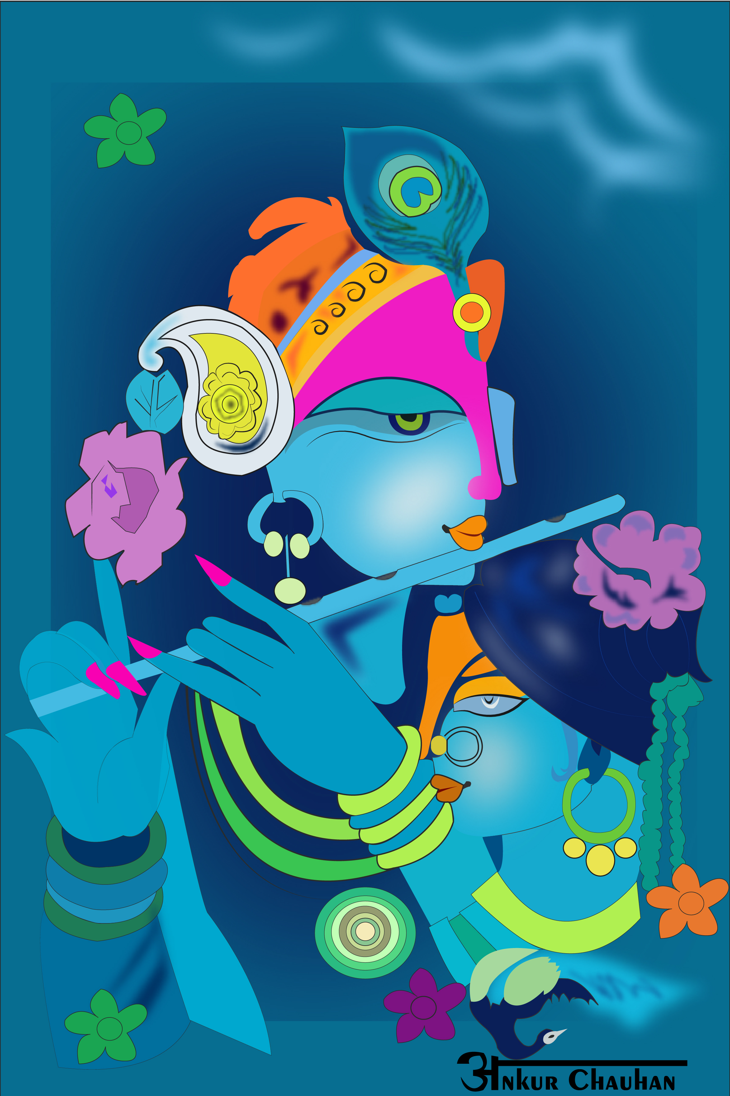 Radha Krishna illustration
